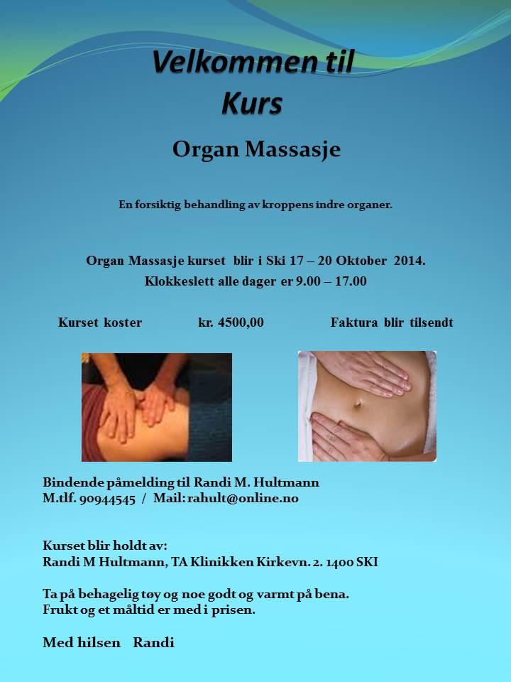 Velkommen til Kurs i organ massage